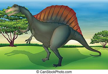 The Spinosaurus - Illustration showing the spinosaurus