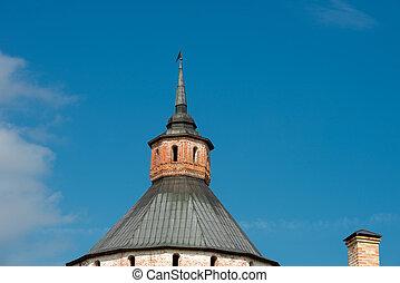 The spire of the Moscow (Ferapontov) tower. Cyril-Belozersky monastery. Vologda region, Kirillov, Russia