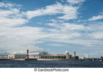 The spit of Vasilievsky Island in Saint Petersburg, Russia.