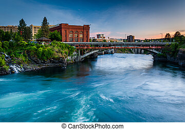 The Spokane River at sunset, in Spokane, Washington.