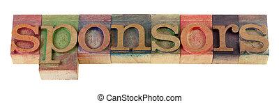 sponsors - the sponsors word in vintage wooden letterpress ...