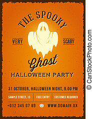 The Spooky Glowing Ghost Abstract Vector Vintage Poster,...