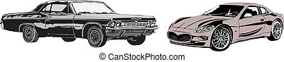 The sport car and retro car made in eps