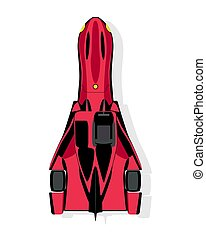 The sport car, dragster top view in flat style isolated on a white background