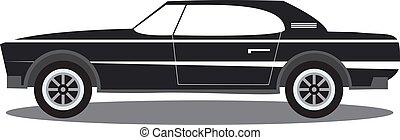 The sports car in flat style vector an illustration with the image of the american muscle sports car.Side view, isolated.