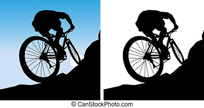 The sportsman on a bicycle leave on a mountain