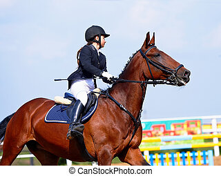The sportswoman on a red horse at competitions.