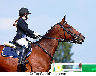The sportswoman on a sports horse.