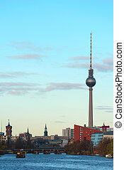 The Spree river in Berlin with TV tower