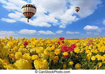 The spring sun shines flying  balloon