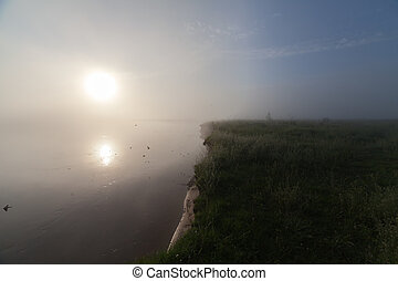 The Springtime Shoreline of a Foggy Mountain Lake at Sunrise