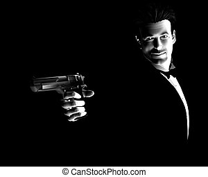 The Spy  - An image of a pair of male spy\'s with a gun.