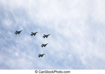 The squadron of warplanes