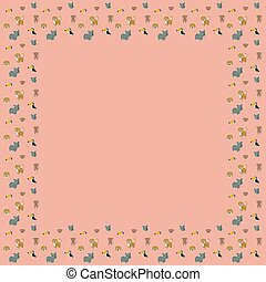 The square frame of cartoon cute leopards, rainbow toucans, spider monkeys, and their faces with white outlines like stickers on a pink background. A place for text. Vector.