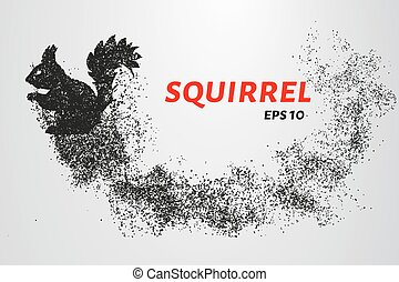 The squirrel from the particles. Silhouette of squirrel consists of small circles. Vector illustration.