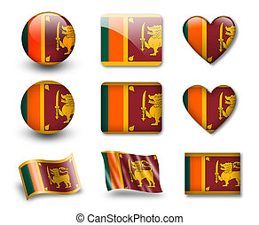 The Sri Lanka flag - set of icons and flags. glossy and...