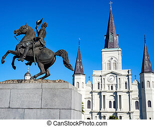The St Louis Cathedral and Andrew Jackson Statue in New Orleans, Louisiana