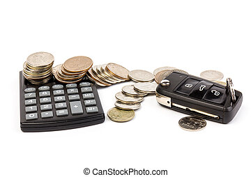 The stack of coin with calculator, car and key on white background. Rent, buy or insurance car concept