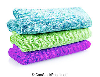 Stack of color microfiber cloths isolated on white background
