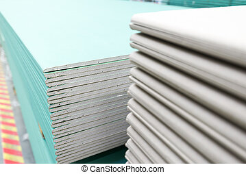 stack of gypsum board preparing for construction - The stack...