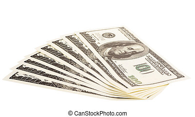The stack of one hundred dollar bills
