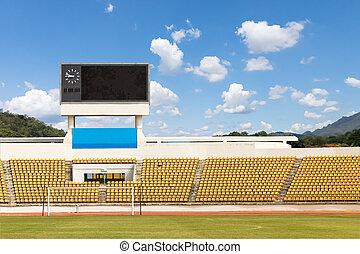 The stadium with scoreboard displaying