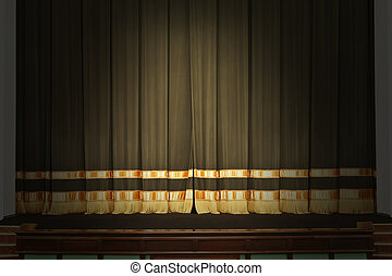 The stage in the theater with the lights off