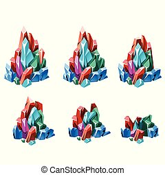 The stage of formation of multicolored crystalline minerals isolated on white background. Vector cartoon close-up illustration.