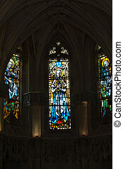 The stained glass windows inside Chapel St. Hubert in Amboise, France.