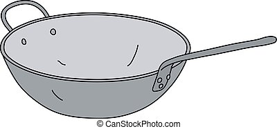 The stainless steel chinese pan