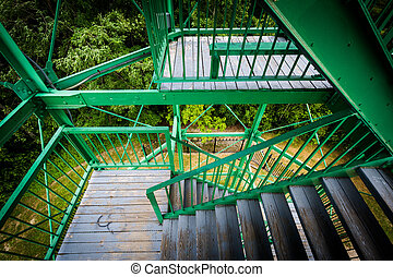The stairs of Garrison Hill Tower at Garrison Hill Park, in...