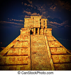 the stairs of Mayan temple 3d rendering