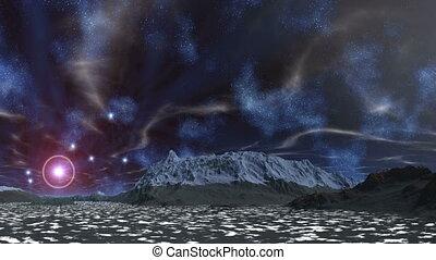The star in the halo, nebulae - In the dark blue sky myriads...