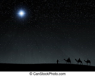 The wise men and camels heading towards the bethlehem star at Christmas