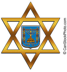 Star of David - The Star of David and the emblem of the...