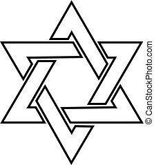 The star of David logo in the vector.Jewish star of David in...