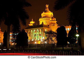 The state Legislature building - the Vishana Soudha - in Bangalore, India