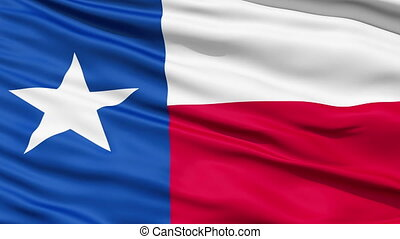 The official state waving Flag of Texas, called the Lone Star Flag, seamless looping