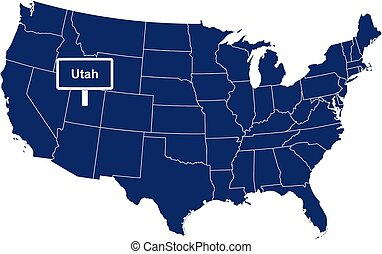 The state of Utah with road sign
