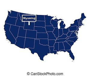 The state of Wyoming with road sign