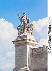 The statue in front of Monumento nazionale a Vittorio ...