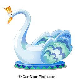 The statue of a swan with a crown isolated on white background. Vector cartoon close-up illustration.