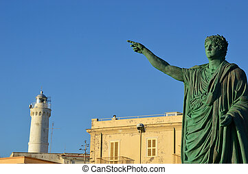 The statue of Emperor Nerone and the lighthouse at Anzio