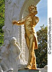 The statue of Johann Strauss - Park in Vienna. Elegant...