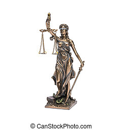 The Statue of Justice - lady justice or Iustitia isolated on white background