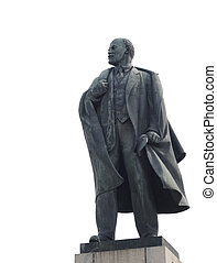 The statue of Lenin on a white background