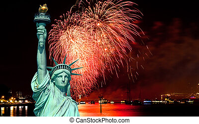 The Statue of Liberty and July 4th fireworks over Hudson ...