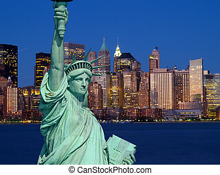 The Statue of Liberty and New York City skylines as the...