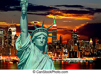 The Statue of Liberty and New York City skylines as the ...