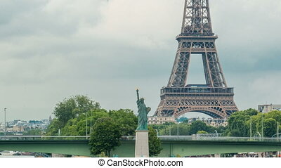 The Statue of Liberty and the Eiffel Tower Timelapse. Paris,...